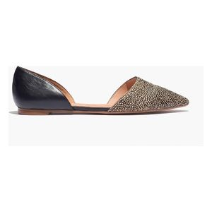 Madewell. D'Orsay Flat. Black Dotted Calf Hair.